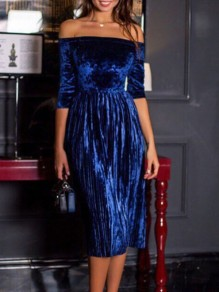 Navy Blue Pleated Off Shoulder Half Sleeve Elegant Velvet Midi Dress