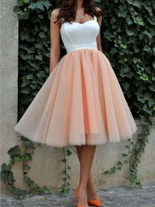 Nacarat Patchwork Grenadine Spaghetti Strap Backless Tutu Homecoming Party Midi Dress