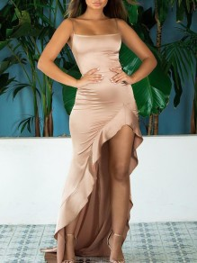 Khaki Condole Belt Draped Backless Irregular Ruffle Square Neck Sleeveless Elegant Maxi Dress