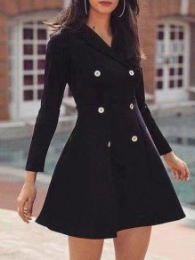 Black Draped Pleated Double Breasted Turndown Collar Long Sleeve Elegant Mini Dress