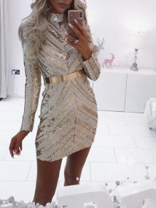 Golden Geometric Sequin Glitter Band Collar Sparkly Bodycon Banquet Birthday Party Mini Dress