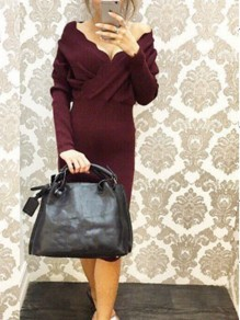 Wine Red Irregular Slit V-neck Long Sleeve Fashion Midi Dress