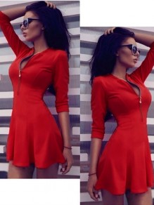 Red Patchwork Zipper Elbow Sleeve Round Neck Fashion Midi Dress