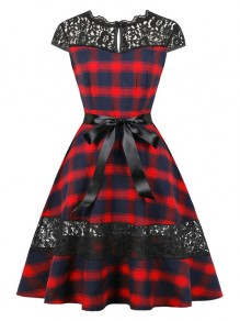 Red Black Patchwork Bow Lace Short Sleeve Party Midi Dress