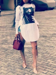 White Figure Pattern Irregular Side Slit High-low Casual T-shirt Mini Dress
