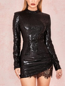 Black Patchwork Sequin Lace Draped Round Neck Long Sleeve Elegant Mini Dress