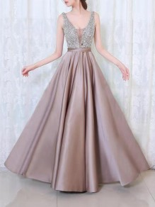 Apricot Patchwork Sequin Draped Condole Belt V-neck Sleeveless Elegant Maxi Dress