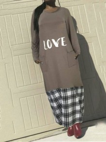 "Grey Flannel ""LOVE"" Pockets Long Sleeve Round Neck Casual Maxi Dress"