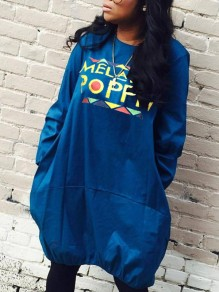 "Dark Blue ""MELAININ POPPIN"" Pockets Long Sleeve Round Neck Casual Midi Dress"