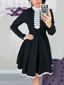 Black Patchwork Lace Pleated Tutu Long Sleeve Homecoming Party Midi Dress