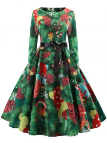 Green Floral Bow Pleated Round Neck Long Sleeve Christmas Midi Dress