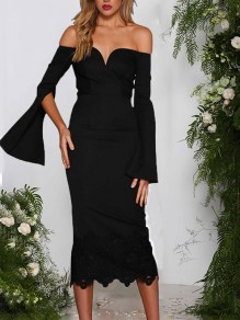 Black Patchwork Lace Cut Out Off Shoulder V-neck Long Bell Sleeve Homecoming Party Elegant Midi Dress