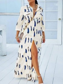 White Leaves Pattern Pockets Turndown Collar Single Breasted Casual Bohemian Maxi Dress