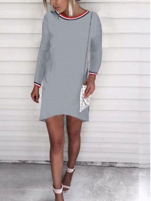 Grey Print Round Neck Long Sleeve Fashion Mini Dress