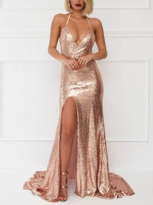 Golden Patchwork Sequin Side Slit Backless Spaghetti Strap Draped Big Swing Homecoming Party Elegant Maxi Dress