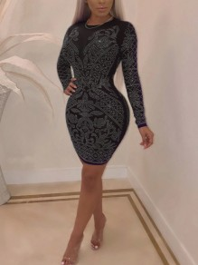 Black Patchwork Rhinestone Bodycon Long Sleeve Round Neck Sparkly Glitter Birthday Party Mini Dress