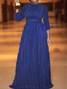 Navy Blue Pleated Long Sleeve Elegant Party Maxi Dress