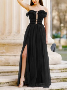 Black Plain Ruffle Cut Out Draped Grenadine Party Maxi Dress