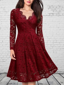 Wine Red Patchwork Lace V-neck Party Midi Dress