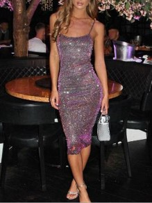 Purple Sequin Glitter Spaghetti Strap Bedazzled Bodycon Christmas New Year EVE Party Midi Dress