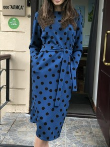 Blue Polka Dot Print Belt Round Neck Long Sleeve Going out Midi Dress