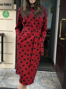 Red Polka Dot Print Belt Round Neck Long Sleeve Going out Midi Dress