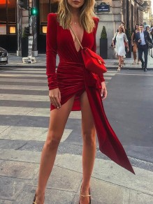 Red Irregular Pleated Slit V-neck Long Sleeve Mini Dress