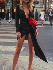 Black Irregular Pleated Slit V-neck Long Sleeve Mini Dress