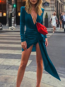 Green Irregular Pleated Slit V-neck Long Sleeve Mini Dress