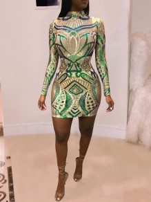 Apricot Patchwork Grenadine Sequin Bodycon Sparkly Glitter Birthday Round Neck Long Sleeve Party Mini Dress