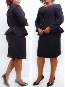 Black Layers Of Ruffle Two Pieces Long Sleeve Suit Office Worker/Daily Midi Dress