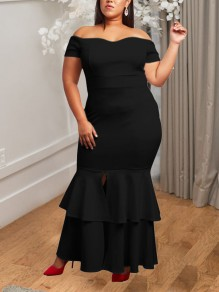 Black Cascading Ruffle Front Slit Off Shoulder Bodycon Mermaid Plus Size Elegant Party Maxi Dress
