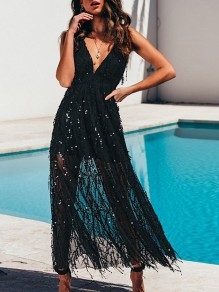 Black Patchwork Sequi Grenadine Plunging Neckline Party Maxi Dress