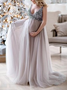Lilac Patchwork Sequin Grenadine V-neck Sleeveless Mermaid Pregnant Photoshoot Elegant Maternity Maxi Dress