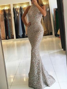 Apricot Patchwork Lace Bright Wire Halter Neck Bodycon Mermaid Sparkly Glitter Elegant Prom Evening Party Maxi Dress