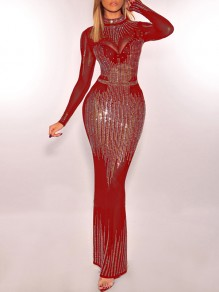 Red Patchwork Grenadine Rhinestone Bodycon Sparkly Glitter Long Sleeve Party Maxi Dress