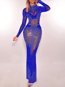 Blue Patchwork Grenadine Rhinestone Bodycon Sparkly Glitter Long Sleeve Party Maxi Dress