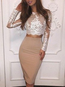 Beige Floral Lace Print Round Neck Long Sleeve Fashion Midi Dress