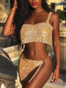 Golden Sequin Chain Glitter Irregular Two Piece Clubwear NYE Sparkly Party Mini Dress