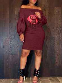Burgundy Monogram Kiss Me Rhinestone Off Shoulder Lantern Sleeve Casual Mini Dress