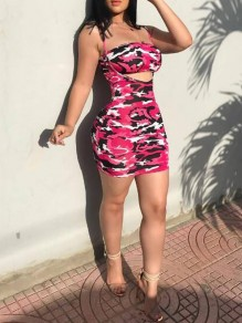 Pink Camouflage Cut Out Spaghetti Strap Two Piece Bodycon Clubwear Party Mini Dress