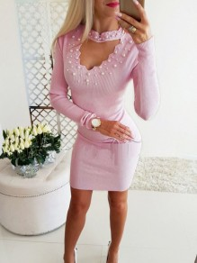 Pink Pearl Cut Out Long Sleeve Fashion Mini Dress