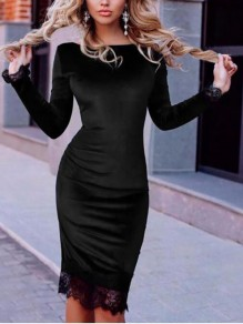 Black Patchwork Lace Bodycon Round Neck Long Sleeve Going out Midi Dresses