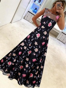 Black Patchwork Grenadine Floral Pleated Prom Evening Party Maxi Dress