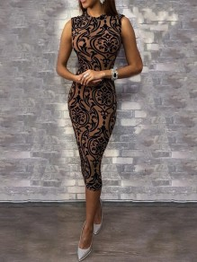 Black Floral Bodycon Round Neck Elegant Party Maxi Dress