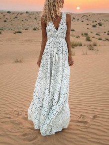 White Polka Dot Drawstring Pleated Gypsy V-neck Bohemian Maxi Dress