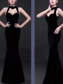 Black Cut Out Sequin Bodycon Round Neck Party Maxi Dress