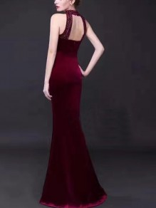 Red Cut Out Sequin Bodycon Round Neck Party Maxi Dress