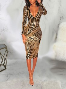 Golden Sequin Bodycon Long Sleeve Deep V-neck Sparkly Glitter Party Midi Dress