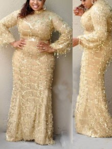 Apricot Patchwork Sequin Tassel Bodycon Mermaid Long Sleeve Sparkly Glitter Party Maxi Dress